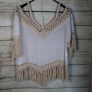 Off white and beige top with open shoulder